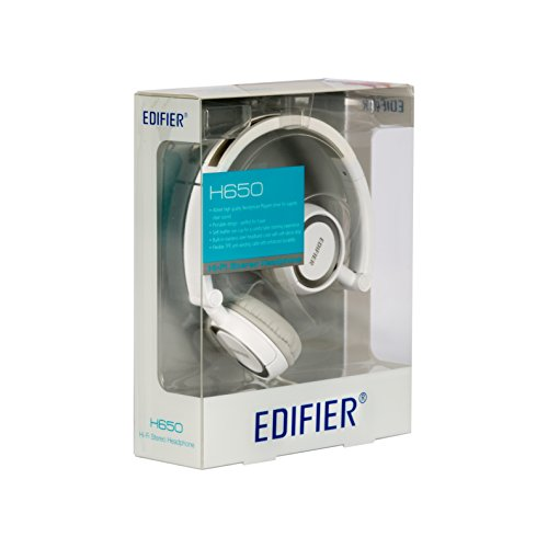 Edifier H650 Headphones   Hi Fi On Ear Wired Stereo Headphone, Ultralight And Fold Able   White