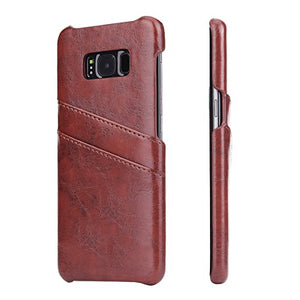 Case for Samsung Galaxy S8 Plus 6.2 inch case with 2 Card Slots Hardcase in Leather-Look Soft Touch Cell Phone Protector Case
