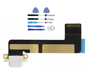 (md0410) White USB Charging Port Charge Dock Connector Charger Flex Ribbon Cable Replacement Part Compatible with Ipad Mini Model A1432 A1454 A1455 + Tools Kit