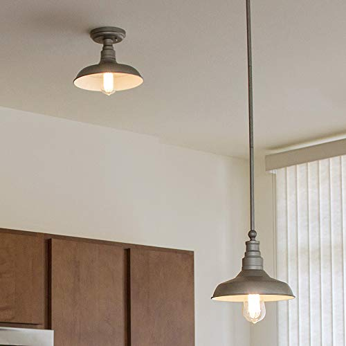 Design House 519819 Kimball Industrial Farmhouse Indoor Light With Metal Shade, Mini Pendant, Galvan