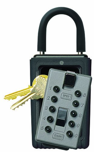 Kidde AccessPoint 001166 KeySafe 3-Key Portable Push Button Key Safe Box, Titanium Gray
