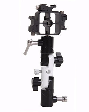 EXMAX Full aluminum Pro Flash Hot Cold Shoe with Triple (3) flash mount head Umbrella Holder adapter mount with Swivel/Tilt Bracket 3 section U shape Studio Light Stand for Nikon and Canon Speedlight