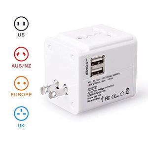 CRAZY AL'S CA615(2.1A) Worldwide Universal International Travel Adapter, with 2 USB Charging Ports & Universal AC Socket,Suitable for Apple, Samsung, Sony, BlackBerry, HTC,etc. White