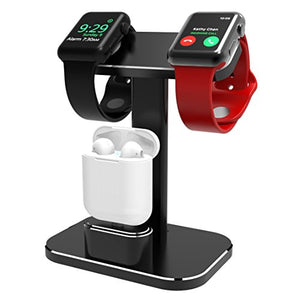 DHOUEA Compatible 2 in 1 Watch Stand Replacement for Apple Watch iWatch Charging Dock Station Stand Holder Aluminum Airpods Stand for Apple Watch Series 4 3 2 1 (38mm or 42mm) Airpods (Black)