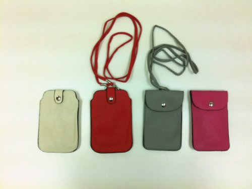 Leather Neck Pouch for Phone (Style 2) - Red