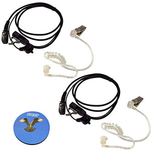 HQRP 2-Pack 2 Pin Acoustic Tube Earpiece Headsets Mic Compatible with Ritron Patriots Series RTX/SST/SST Plus/Jobcom/MBX/JMX-102 / JMX-141 + HQRP Coaster