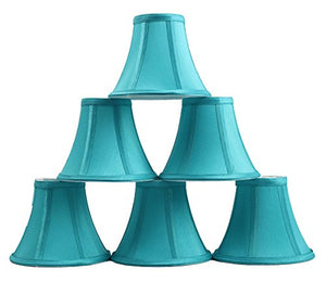 Urbanest Set of 6 Teal Silk Bell Chandelier Lamp Shade, 3-inch by 6-inch by 5-inch, Clip-on