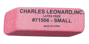 Charles Leonard Eraser, Synthetic, Latex Free, Wedge Shape, Pink, Small, 36/Box (71506)