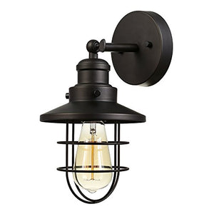 Globe Electric Beaufort 1-Light Wall Sconce, Oil Rubbed Bronze Finish, Removable Cage Shade, 59123