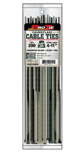 Pro Tie CAM200 Camouflage Assortment Cable Ties, Pack of 200