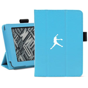 Light Blue For Amazon Kindle Paperwhite Leather Magnetic Case Cover Stand Female Softball Pitcher