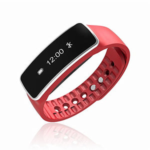 Bluetooth Wireless Smart Bracelet with Sleep Monitor Pedometer Calorie Counter Fitness Tracker for Android and iOS Smartphones (Red)