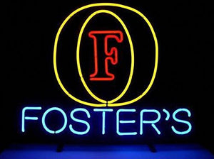 !Super Bright! New Foster's Logo Sign Handcrafted Real Glass Neon Light Sign Home Beer Bar Pub Recreation Room Game Room Windows Garage Wall Sign 19x15 inches