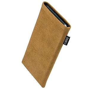 fitBAG Classic Sand Custom Tailored Sleeve for BLU Studio Energy. Genuine Alcantara Pouch with Integrated Microfibre Lining for Display Cleaning
