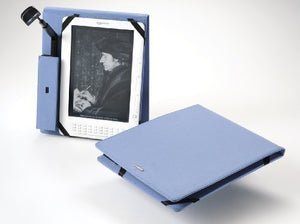 Periscope Flip Cover+Light for The Kindle DX in Steel Blue Microfiber