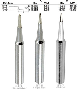 Weller ST1, ST5, ST7 Screwdriver,Single Flat, Conical Tip, Tip Nozzle for SP40L, SP40N, WLC100, WP25, WP40, WP30 WP35, Soldering, Desoldering, Rework Tips, Nozzles, ST-1, ST-5, ST-7