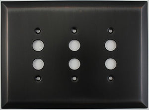 Jumbo Stamped Oil Rubbed Bronze Three Gang Push Button Light Switch Wall Plate