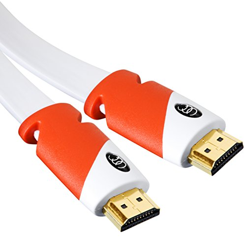 Flat HDMI Cable 35 ft - High Speed Hdmi Cord - Supports, 4K Video, 3D, 2160p - HDMI Latest Standard - CL3 Rated - 35 Feet