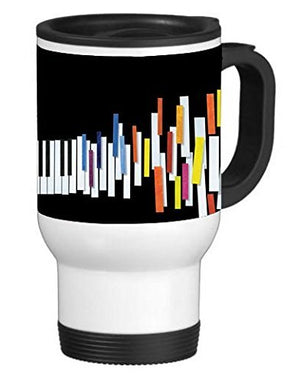 Colorful Piano Keys Running 14 ounce Stainless Travel Mug Thermos