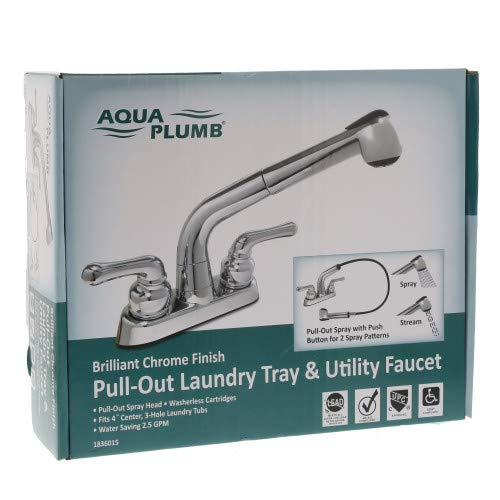 Laundry Sink Faucet with Pull-Out Sprayer by Aqua PlumbChrome