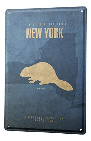 LEotiE SINCE 2004 Tin Sign Metal Plate Decorative Sign Home Decor Plaques World Trip USA New York Beavers Decorative Wall Plate 8X12