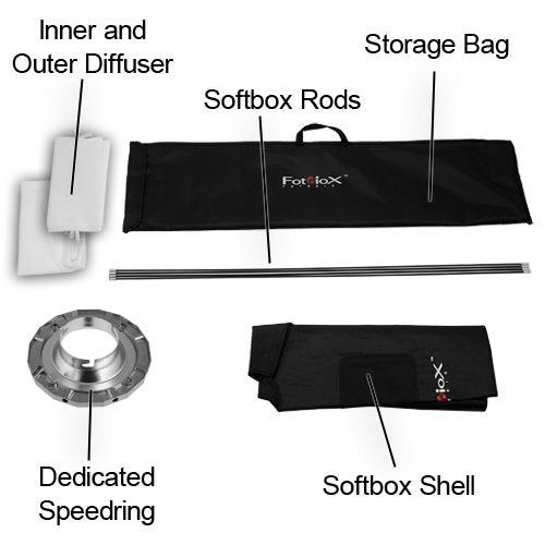 "Fotodiox Pro 24""x80"" Softbox PLUS Grid / Eggcrate for Studio Strobe / Flash with Soft Diffuser and Dedicated Speedring, for Comet CB25H Flash Head, CAX-32HS, CAX-64HS, CB-25, CT-W 800 withS, CT-W400 w"