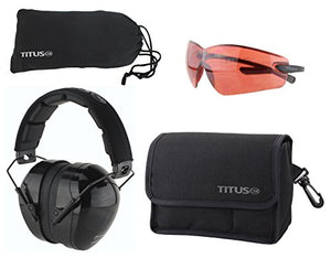 TITUS Safety Earmuffs & Glasses Combo (Black - Contoured, G23 Vermillion Fold-Less Ultralights)