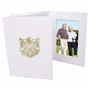 Golf Classic Gold-foil Design on White Cardboard Photo Folder Our Price is for 50 Units - 4x6