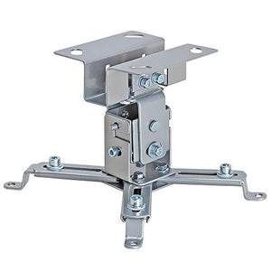 Cmple - Universal Solid Ceiling Projector Mount, Projector Bracket with Tilt and Adjustable Legs for LCD/DLP Projectors - Max 44lbs (Silver)