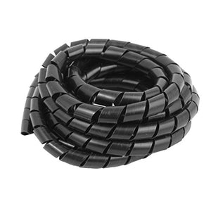 uxcell 8.9Ft 2.7M Length Flexible Spiral Tube Wrap Cable Wire Computer Cord Manager 10mm OD Black