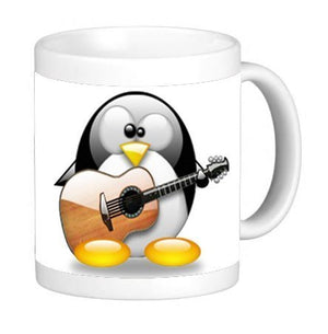 Cute Penguin Playing the Guitar 11 ounce Ceramic Coffee Mug Tea Cup