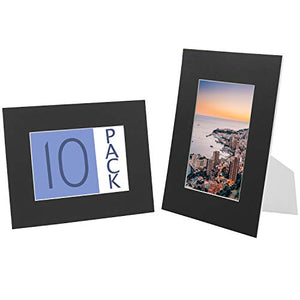 Golden State Art 10-Pack Cardboard Photo Frame Easel 8x10 Inches, Self-Assemble Photo Mat, Includes 10 Clear Bags - Fits 5x7 Photos, Black Color
