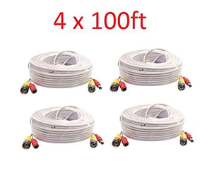 Premium Quality 4x 100ft White Video Power BNC Cable for CCTV Security Cameras