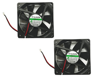 Sunon 70x70x15mm KDE1207PHV3 2Pin/2Wire 12v Low Speed Fan (2 pack), black