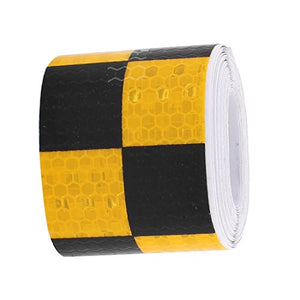 uxcell Yellow Black Lattice Honeycomb Reflective Conspicuity Tape 5cm Width 3 Meters Length