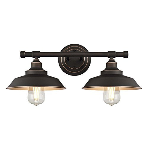 Westinghouse Lighting 6354800 Iron Hill Two Light Indoor Wall Fixture, 2, Oil Rubbed Bronze/Bronze