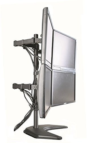 "EZM Basic Quad 4 LCD LED Monitor Mount Stand Free Standing with Grommet Mount Option Holds Up to 27"" Widescreen Displays(002-0015)"