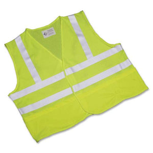 SKILCRAFT 8415-01-598-4868 Safety Vest with Silver Reflective Tape and Front Closure, Large, Lime