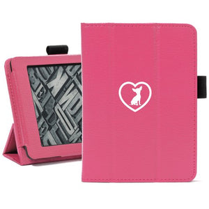 Hot Pink For Amazon Kindle Paperwhite Leather Magnetic Case Cover Stand Chihuahua Heart