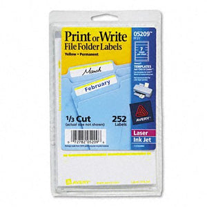 Print or Write File Folder Labels [Set of 3] Color: White / Yellow