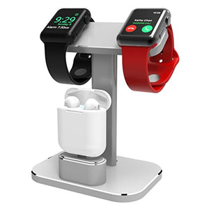 DHOUEA Compatible 2 in 1 Watch Stand Replacement for Apple Watch iWatch Charging Dock Station Stand Holder Aluminum Airpods Stand for Apple Watch Series 4 3 2 1 (38mm or 42mm) Airpods (Silver)