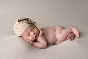 AMOS and SAWYER Knotted Sleeping Hat, Photography Prop (Newborn, Stone - Round Button)