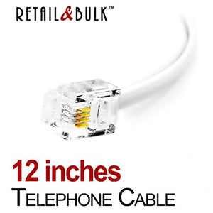 12 Inch Premium Quality Telephone Cable, RJ11 Male to Male 6P4C Phone Line Cord. Made in USA by Retail&Bulk (White)