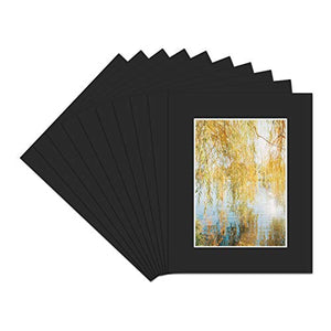 Golden State Art Pack of 10, Acid-Free Black Pre-Cut 8x10 Picture Mat for 5x7 Photo with White Core Bevel Cut Frame Mattes