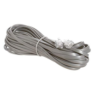 Cmple - Telephone Extension Cord Cable, 4 Conductor Wire with RJ11 6P4C Plug Cable for Landline Telephone - 25 FT, Gray