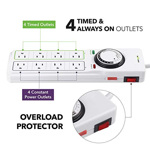 BN-LINK 8 Outlet Surge Protector with Mechanical Timer (4 Outlets Timed, 4 Outlets Always On) - White