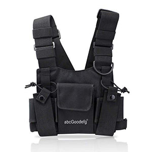 abcGoodefg Radio Chest Harness Chest Front Pack Pouch Holster Vest Rig for Two Way Radio Walkie Talkie(Rescue Essentials) (Black)