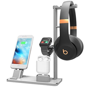 XUNMEJ Watch Stand Compatible for Apple Phone Dock Stand Station Headphones Stand Headset Dock for Apple Watch Series 2/1 AirPods Phone Xs X Max XR 7 7plus 6s 6plus iPad (Silver)