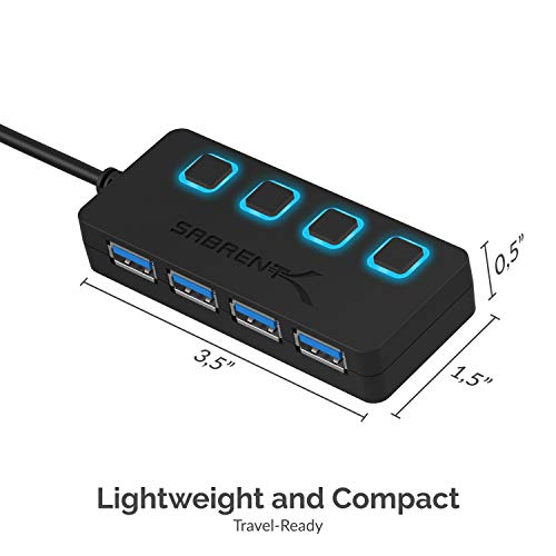 Sabrent 4 Port Usb 3.0 Hub With Individual Power Switches And Le Ds (Hb Um43)