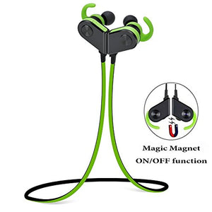 Bluetooth Headphones,Myogots Bluetooth Earphones-Premium Noise Cancelling Wireless V4.1 Earbuds with Magnetic Technology Hanging Ear Headset with Mic for Sports and Outdoor Activities (Black- Green)